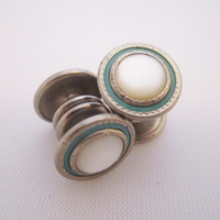 Vintage Cufflinks Snap Cuff Links Art Deco Jewelry Men's Jewelry Gifts for Him Mother of Pearl Aqua