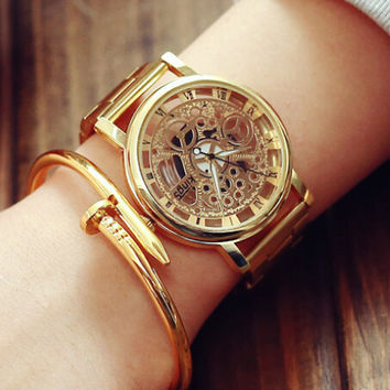 Classic Hollow Out Gold Watch Gift - 529