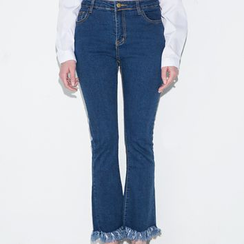 Fringe Bottom Jeans