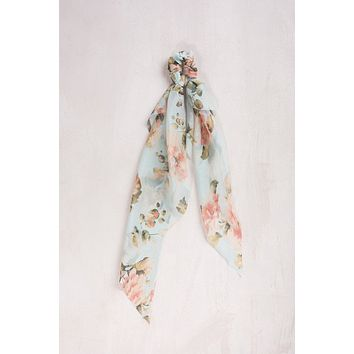 Francesca Green Floral Ribbon Scrunchie