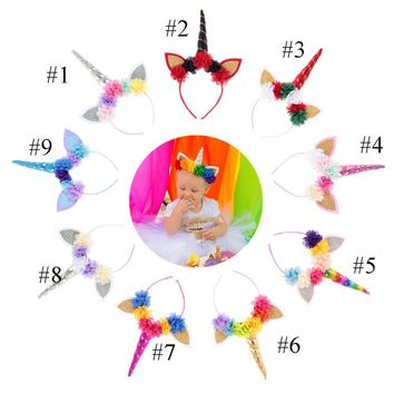 MengNa 12pc/lot Unicorn Headband For Girls Glitter Unicorn Horn Hair Band Kids And Adult Unicorn Party DIY Hair Accessories