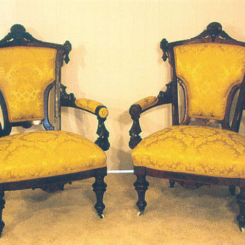 Rare Antique Vintage Pair of Griffin Upholstered Arm Chairs