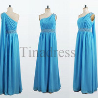 Custom Blue One Shoulder Beaded Long Prom Dresses Evening Dresses Bridesmaid Dresses 2014 Party Dress Evening Gowns Homecoming Dresses