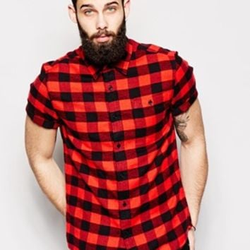 ASOS Shirt In Short Sleeve With Buffalo Plaid