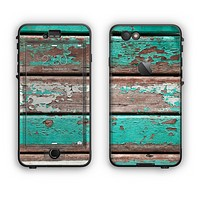 The Chipped Teal Paint On Wood Apple iPhone 6 LifeProof Nuud Case Skin Set