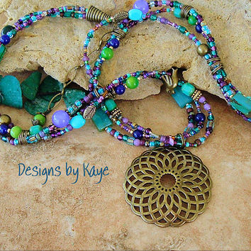 Bohemian Necklace, Lotus Flower Jewelry, Colorful Peacock Layered Beaded Necklace, Original Handmade Bohemian Designs by Kaye Kraus