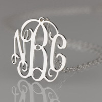 Monogram necklace  125 inch Personalized by PersonalizedNecklace