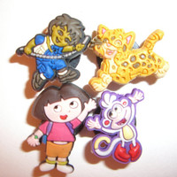 4 Dora The Explorer Button Shoe Charms for Jibbitz bracelets or Crocs shoes