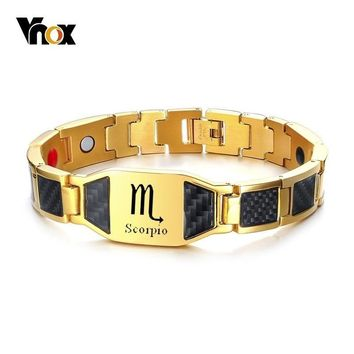 Vnox Carbon Fiber Bracelets for Men Free Engraving Stainless Steel Power Therapy Healing Casual Male Jewelry Custom BF Gift