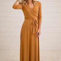 The Jonna Wrap Maxi Dress - Mustard