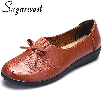 Sugarwest Loafers Woman 2017 Women Flat Shoe Bowtie Ballet Flats Moccasins Boat Shoes Casual Nurse Work Shoe Zapatos Mujer WW797