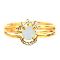 STACKABLE RING SET WITH CIRCLE STONE