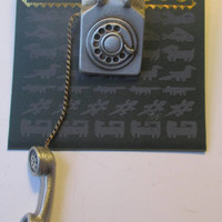 Vintage JJ pin- old fashioned Telephone-  unusual Jonette Jewelry Brooch-unique gift for her -Artifacts 1986 collectible- made in the USA