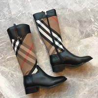 Kuyou Gx39930 Burberry House Check And Leather  Knee High Boots