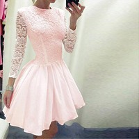 Fashion Solid Color Lace Long Sleeved Dress