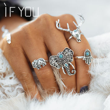 2016NEW Antique Silver Color Ring Set4pcs Set Vintage Punk Hollow Lucky Midi Rings for Women Boho Jewelry Knuckl bague vintage