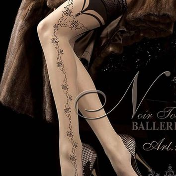 Nude Patterned Hold Ups