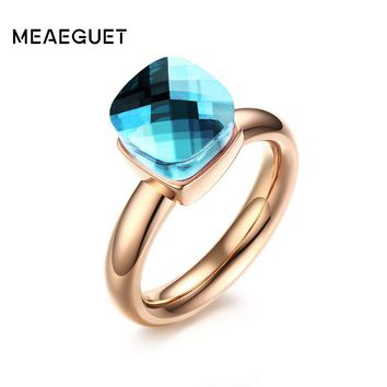 Meaeguet Trendy Engagement Ring For Women Colorful Cut Glass Rose Gold Color Stainless Steel Female Stone Ring USA Size