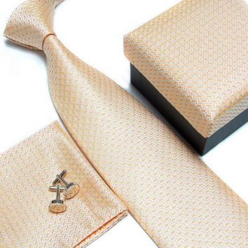Gold Necktie with Matching Cufflinks, Pocketsquare and Gift Box