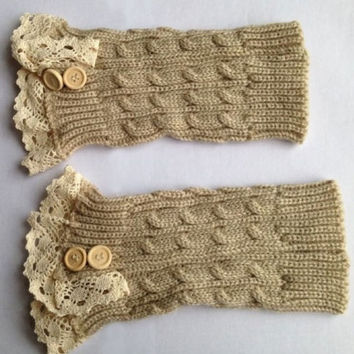 Women's Button Cream Crochet Knit Leg Warmers Lace Trim Toppers Boot Socks Cuffs = 1958263620