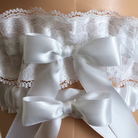 White Satin and Lace Wedding Garter Set, Prom Garter Set