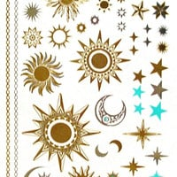 Mystic Tattoos Metallic Temporary Tats In Celestal Gold Silver And Turquoise Sun Moon And Stars Mystical Sun Worship New Age Twilight