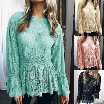 Sexy Womens Summer T Shirt Ruffle Lace Tops Long Sleeve Autumn Spring Causal Blouse Free Shipping Plus Size Women Clothing