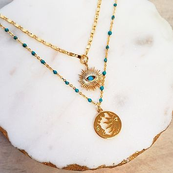 Turquoise Moon Sun Eye Layered Necklace