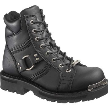 Harley-Davidson® Women's Maddy 6-Inch Lace-Up Black Boots. Inside Zipper D84189