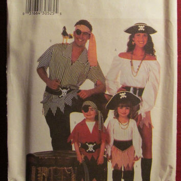 SALE Uncut Butterick Sewing Pattern, 6295! Adults XS to XL/Women's/Men's/Misses/Pirate Costumes/Loose blouses/Men's Shirts/SKirts/Belts/Sash