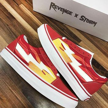 Vans Fashion New Floral Print Women Men Leisure Shoes Red