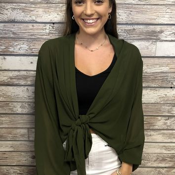 Falling For You Top- Olive