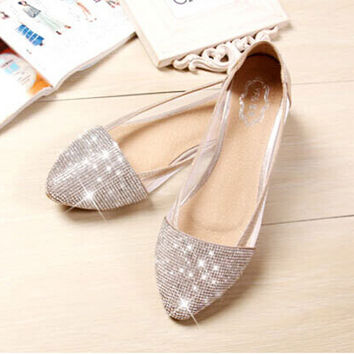 SUMMER STYLE flats shoes women Plus Size 35-41 Fashion Flats for Women Pointed Toe Soft Flat Heel Shoes Rhinestone flats