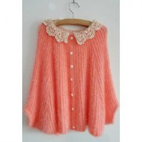 Sweet Style Scoop Neck Lace Splicing Batwing Sleeve Mohair Knitting Sweaters For Women