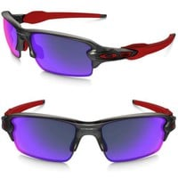 New OAKLEY OO9271-03 Flak 2.0 Asia Fit Matte Grey Smoke / Positive Red Iridium