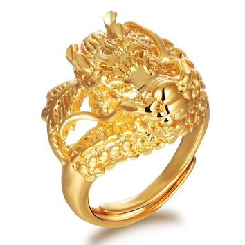 Classic China Stlye Dragon  Gold Color Adjustable Head Mans Rings Punk Style  Mens Wedding Jewelry Finger Bands Male Gift  KJ019