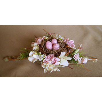 Pink faerie eggs nest Easter Ostara floral centerpiece spring flowers decoration