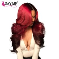 Burgundy Brazilian Hair Body Wave Non Remy Human Hair Extensions Weave Bundles 1 Piece 2 Tone Red