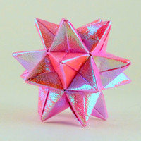 Iridescent Pink Star in Origami