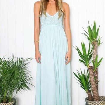 Something Special Mint Crochet Maxi Dress