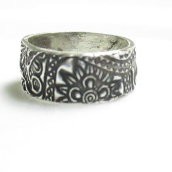 Sterling Silver Band, Sterling Silver Ring, Ring Band, Size 6.75, Paisley Ring, Sterling Silver Jewelry, Silver Ring, Rings, Artisan Ring