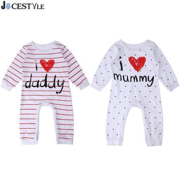 2018 New Style Baby Rompers Boy & Girl Cotton Long Sleeve Newborn Clothes Letter I Love mummy & Daddy jumpsuit Baby Clothes