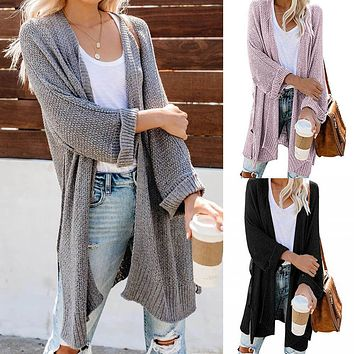 Plus Size Crochet Knit Long Cardigan Sweater