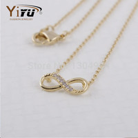 2016 New Gold Plated Tiny Infinity Endless Love Women Necklace Simple Cute Pendant Chain Female Popular Elegant Necklace N058