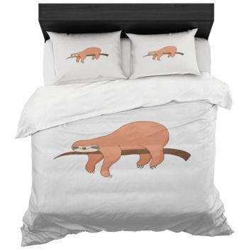 Sloth Duvet Cover And 2 Standard Pillow Shams King And Queen Sizes Microfiber Fabric