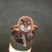 Natural Pink Morganite 2.22 Carat - 14k Rose Gold Ring with Diamonds