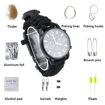 Outdoor Survival Watch Men Fishing Kit Camping Multi-functional Tool Luminous Waterproof Compass Rescue Rope Paracord Bracelet