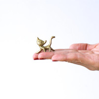 MINIATURE BRASS CAT, Mini Cat or Kitty Figurine, Switzerland, Mini Golden Cat Figure, Shadow Box, Little Trinket