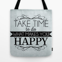 Take Time - Blue Tote Bag by Mockingbird Avenue