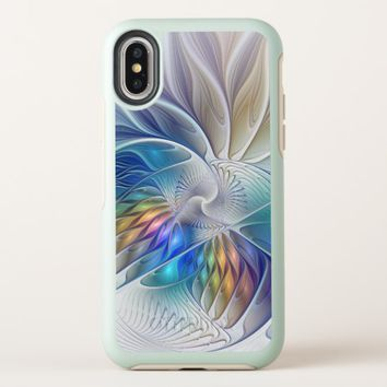 Floral Fantasy, Colorful Abstract Fractal Flower OtterBox Symmetry iPhone X Case